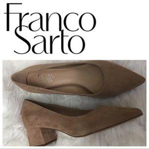 Franco Sarto Callan Suede Block Heel Pump sz 12
